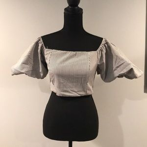 Brand New Do + Be Dolly Striped Puff Crop Top